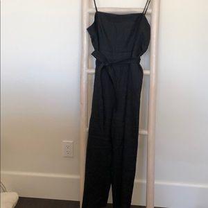 J Crew Black Linen Crop Jumpsuit